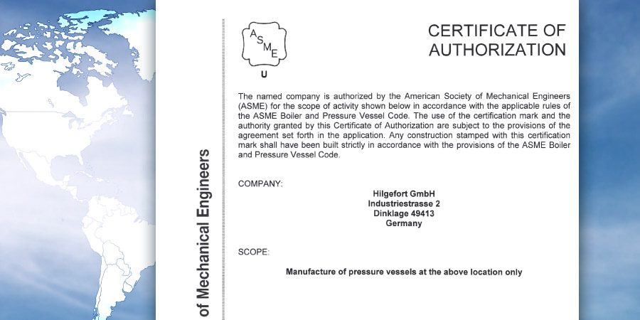 Die ASME-Zertifizierung macht Hilgefort zu einem attraktiven Partner ...