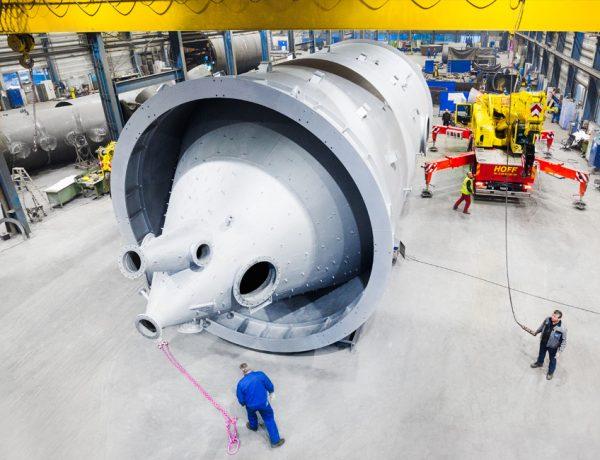Eines von zwei Anlagenteilen für den Wirbler zur Filterung von Abluft dem Hochofen